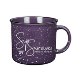 Sip. Survive. Reheat. Repeat. 15oz Campfire Ceramic Mug - Purple