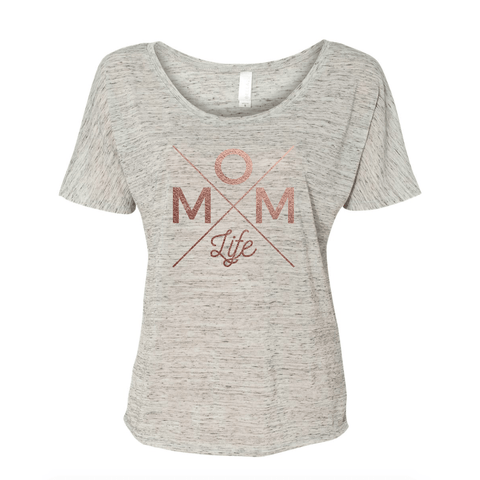 Mom Life Rose Gold +White Marble Slouchy Tee [ships in 3-5 business days]
