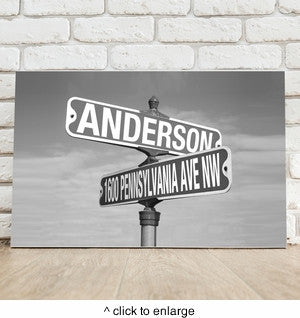 Black and White Street Sign Canvas