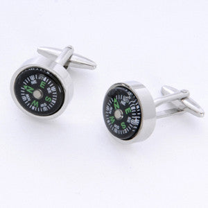 Dashing Compass Cufflinks with Personalized Case