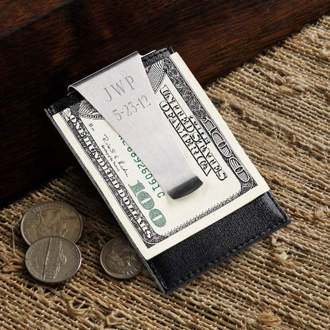 Engraved Leather Money Clip Wallet Card Holder