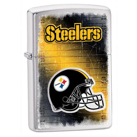 NFL Brushed Chrome Zippo Lighter - STEELERS