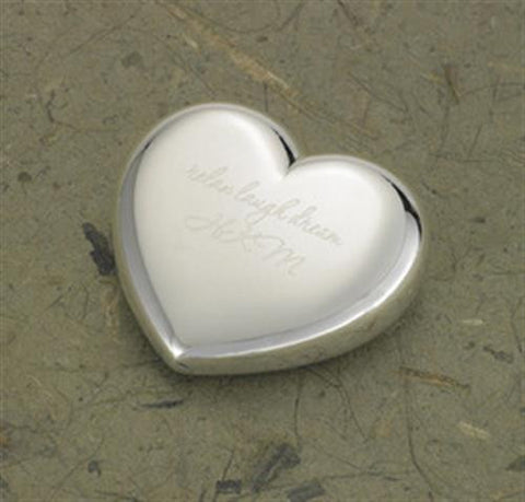 Engraved Silver Plated Heart Paper Weight