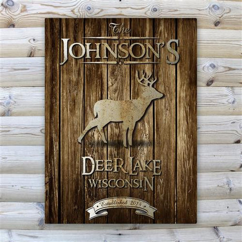 Rustic Wood Cabin Canvas Sign