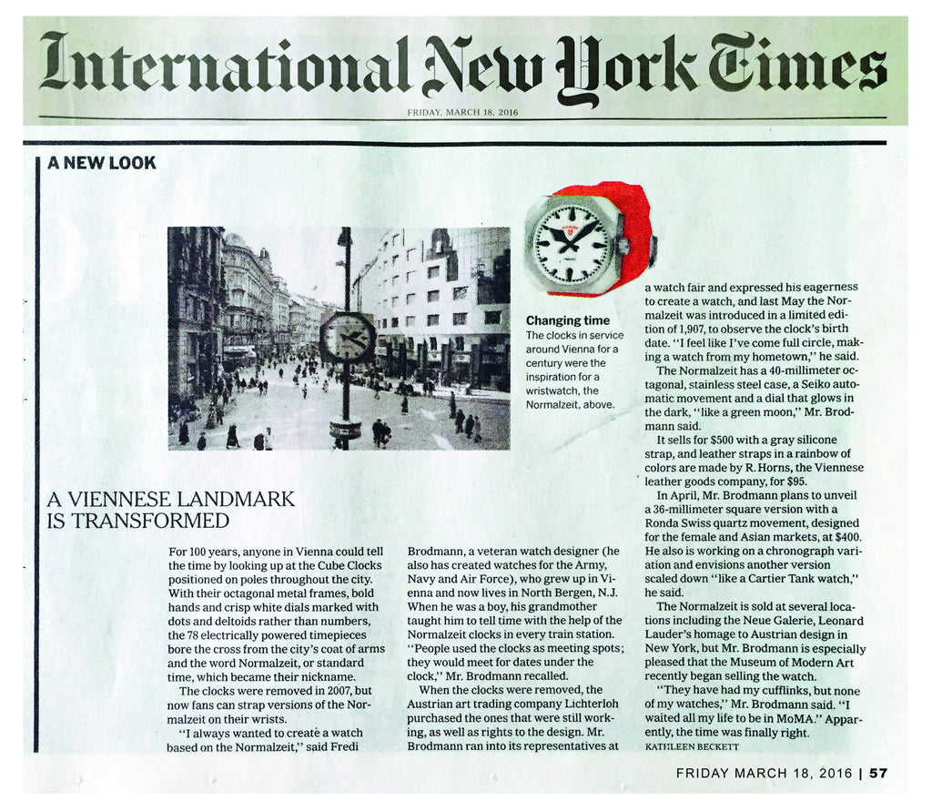 Normalzeit Feature in the International New York Times_March 18th, 2016