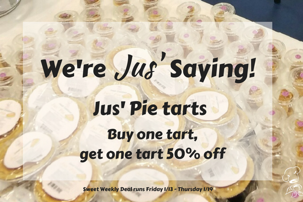 We're Jus' Saying! Buy 1, Get 1 Jus' Pie Tarts 50% off