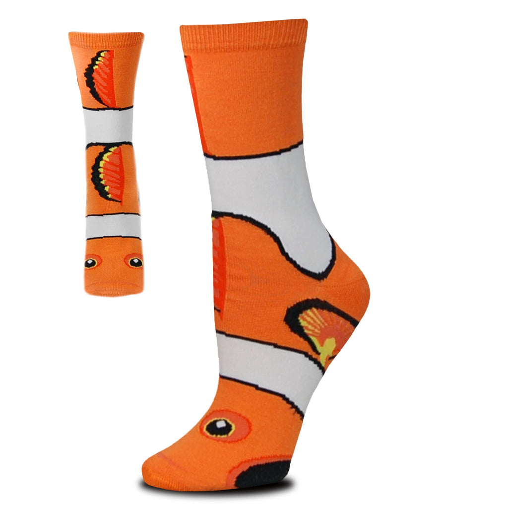 FBF Clown Fish Crew Sock is a Puppet Sock as well as a wearable sock. It is in Tennessee Orange, White, Black and Yellow. You have two views of this Sock front showing more eyes and top fins. Side view shows more fin and White bands of color.