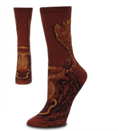 FBF Realistic Moose Sock comes in Large and Medium. On a background of Chocolate Brown The Moose is designed with Light Brown, Caramel, Black and Taupe.