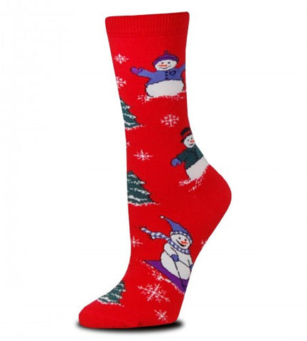 On a Bright Red background you will find FBF Playful Snowmen on this Sock in different Colored Knit outfits having a fun time.