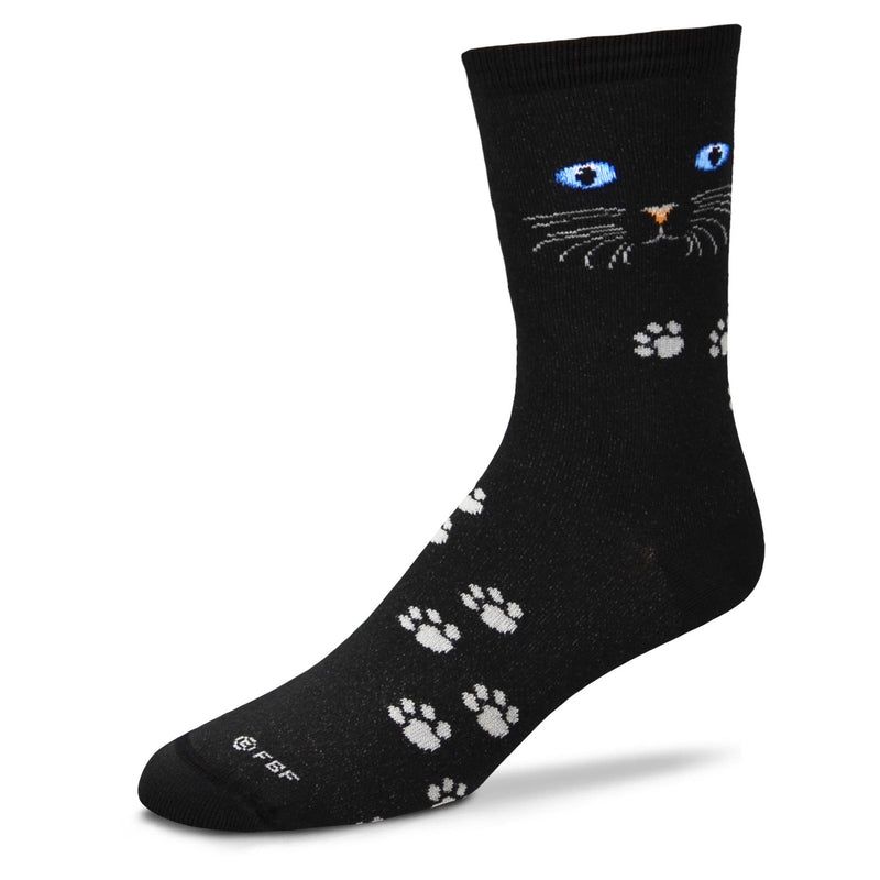 A pair of Blue Eyes stare at you from a Black Cat background sock. The Nose is brown and the Whiskers and Paws are Grey.