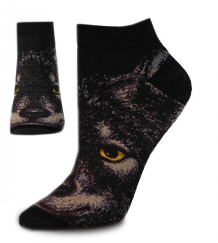 FBF Realistic Wolf Socks show the face of the Wolf. The Eyes are Yellow and Black. The Face is Black, Dark Grey and Tan. The Cuffs, Heels and Toes are Black.