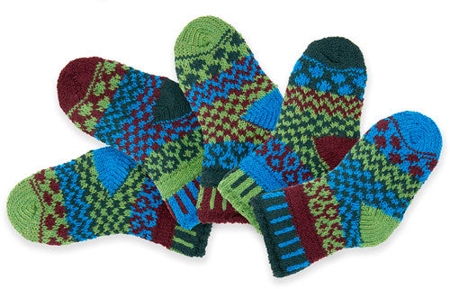 Solmate Socks Baby Series JuneBug Socks comes in 2 Pair and a spare. The Socks are Mismatched  on purpose for fun! Colors are Apple Green, Turquoise, Burgundy and Forest Green.