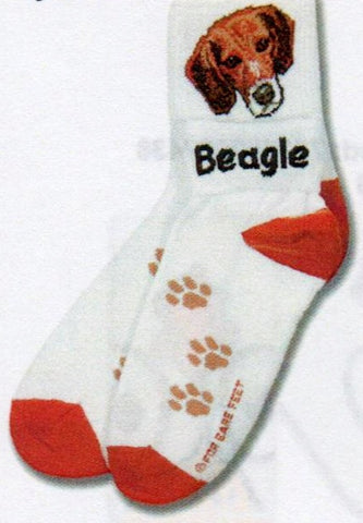 FBF Beagle Head Sock Starts with the Beagle Head on the Cuff and Welt with Beagle written on the flip side if you make it an Anklet Sock. Heels and Toes are Russet. Light Brown Paw marks over the foot.