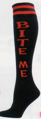 "Simply said this is a Word Sock in Black background. Two Red Stripes at the top and the Words in Red Capitals ""BITE ME"""