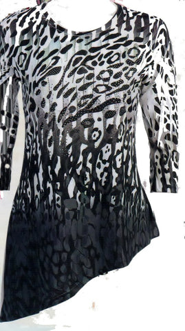 Black Cheetah Top by Jess and Jane is a fun wild animal print with Silver Rhinestones