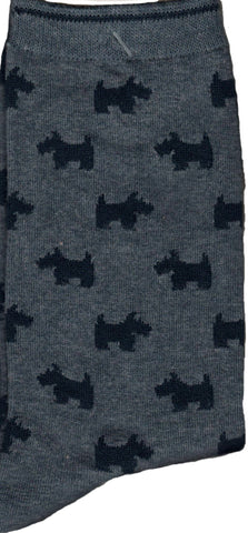 Slate Blue with Scottie Dog Silhouettes makes this sock cute and simple to  love.