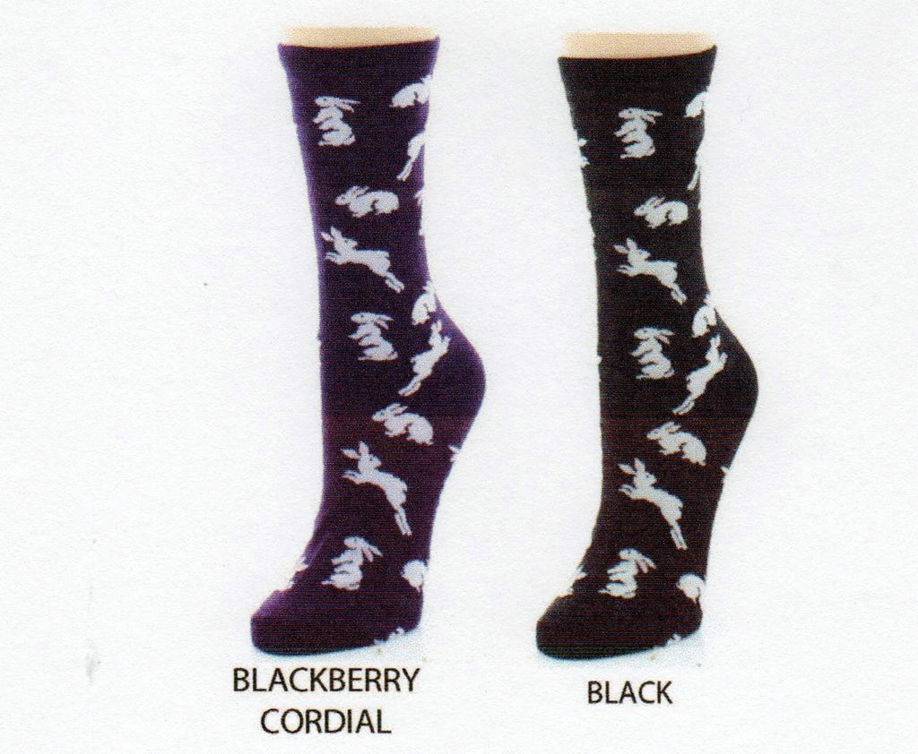 Me Moi Bunny Hop Bamboo Crew Socks come in Black and Blackberry Cordial backgrounds. In both Socks the Bunnies are White with Light Pink Ears. There are little waves of color that are there to show motion as they hop!