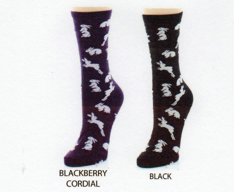 2ea2edde7 Me Moi Bunny Hop Bamboo Crew Socks come in Black and Blackberry Cordial  backgrounds. In