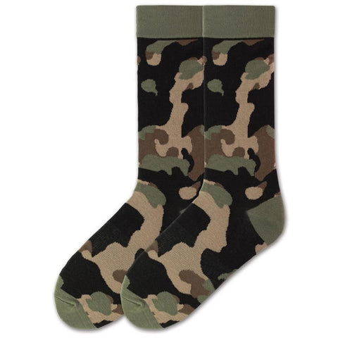 K Bell Camouflage Sock for Men comes in Large and X-Large. This is a basic Woodland Pattern Camo with Olive. Tan, Black and Brown Nose.