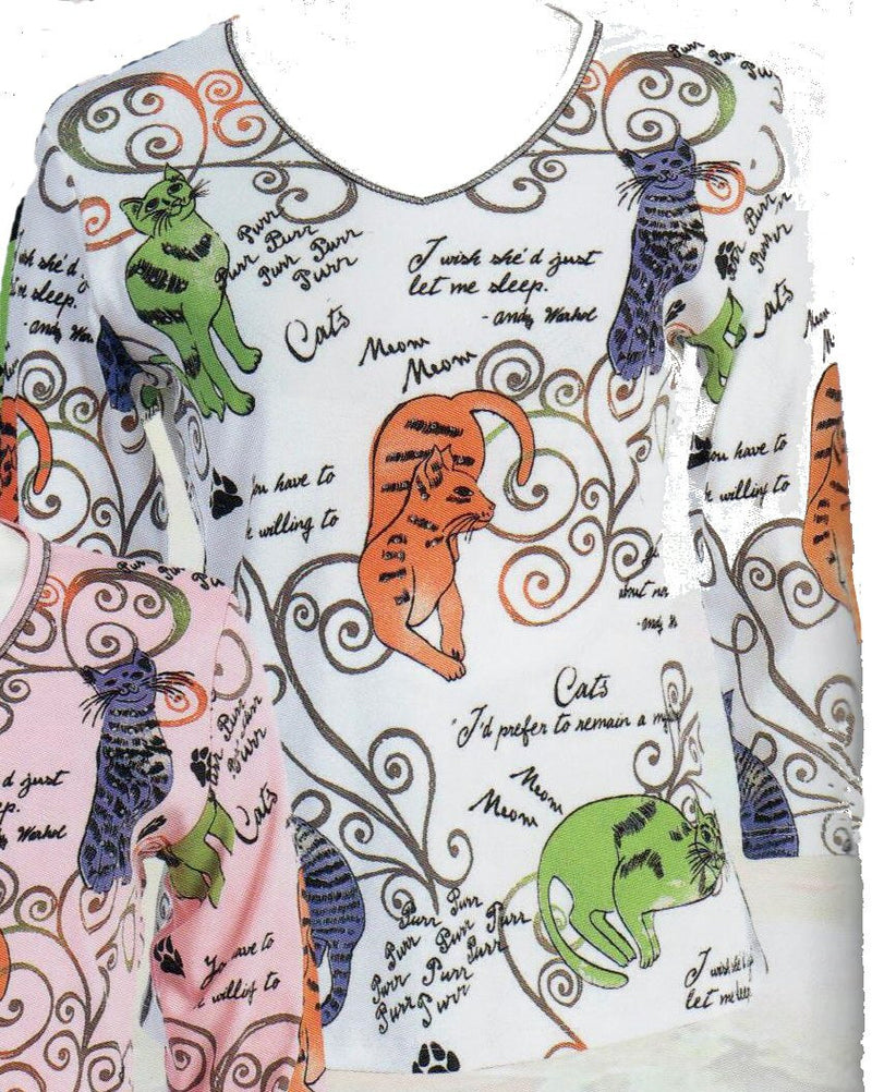 Jess and Jane Cat Swirls is a fun top with Rhinestones and Cat with sayings from Andy Warhol