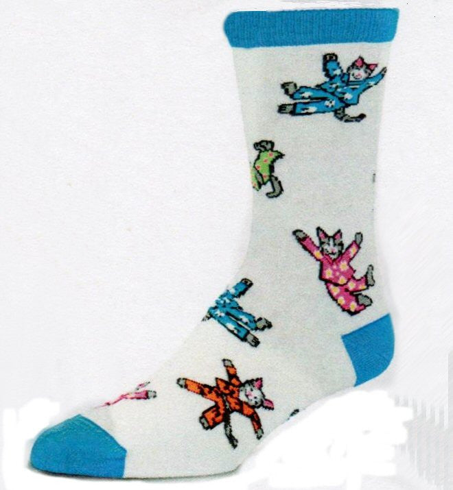 For Bare Feet Cat Nap Socks shows crazy cats in PJ's having fun on a Bright White background with Turquoise Cuff, Heels and Toes and brightly colored Limes, Pinks and Reds.