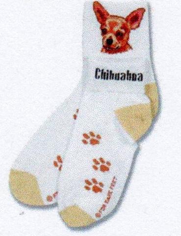 FBF Chihuahua Head Sock is on a White background with Head on the Cuff flip it over to make an Anklet and it says Chihuahua. The heels and toes are light yellow and the Paw Prints are light brown.
