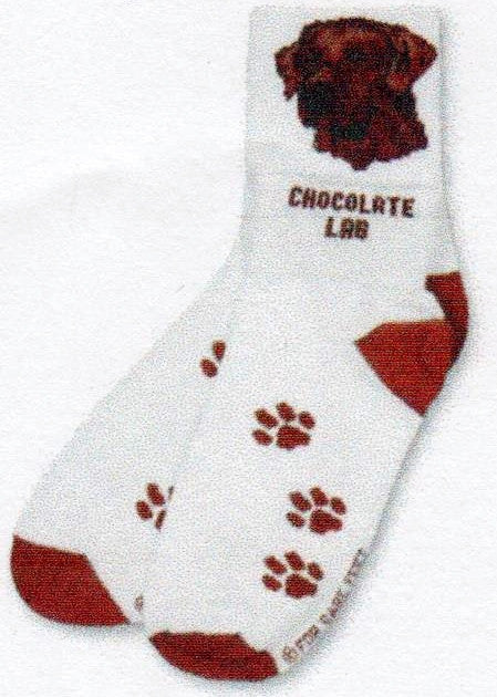 FBF Chocolate Lab Head Sock as a Crew you see the Head as an anklet you see words Chocolate Lab. Heels and Toes are Russet Paws over foot are too, background is Bright White.