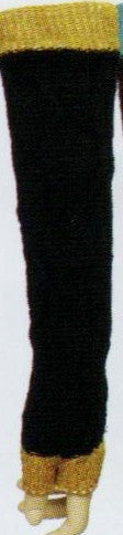 QT Feet Fingerless Glove Style Chunky Cable in Black and Gold.