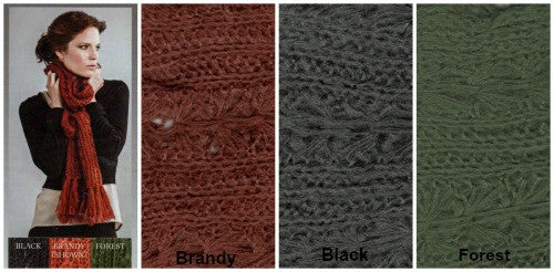 Collage of the Zazou  Madeleine Scarf with Fringe on Model with the three colors available, Brandy, Black and Forest.