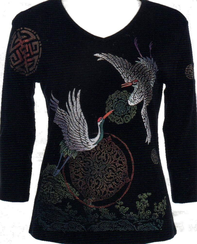 Jess and Jane Cranes Womens Top is a beautiful scene with 2 Cranes and an Oriental Garden.