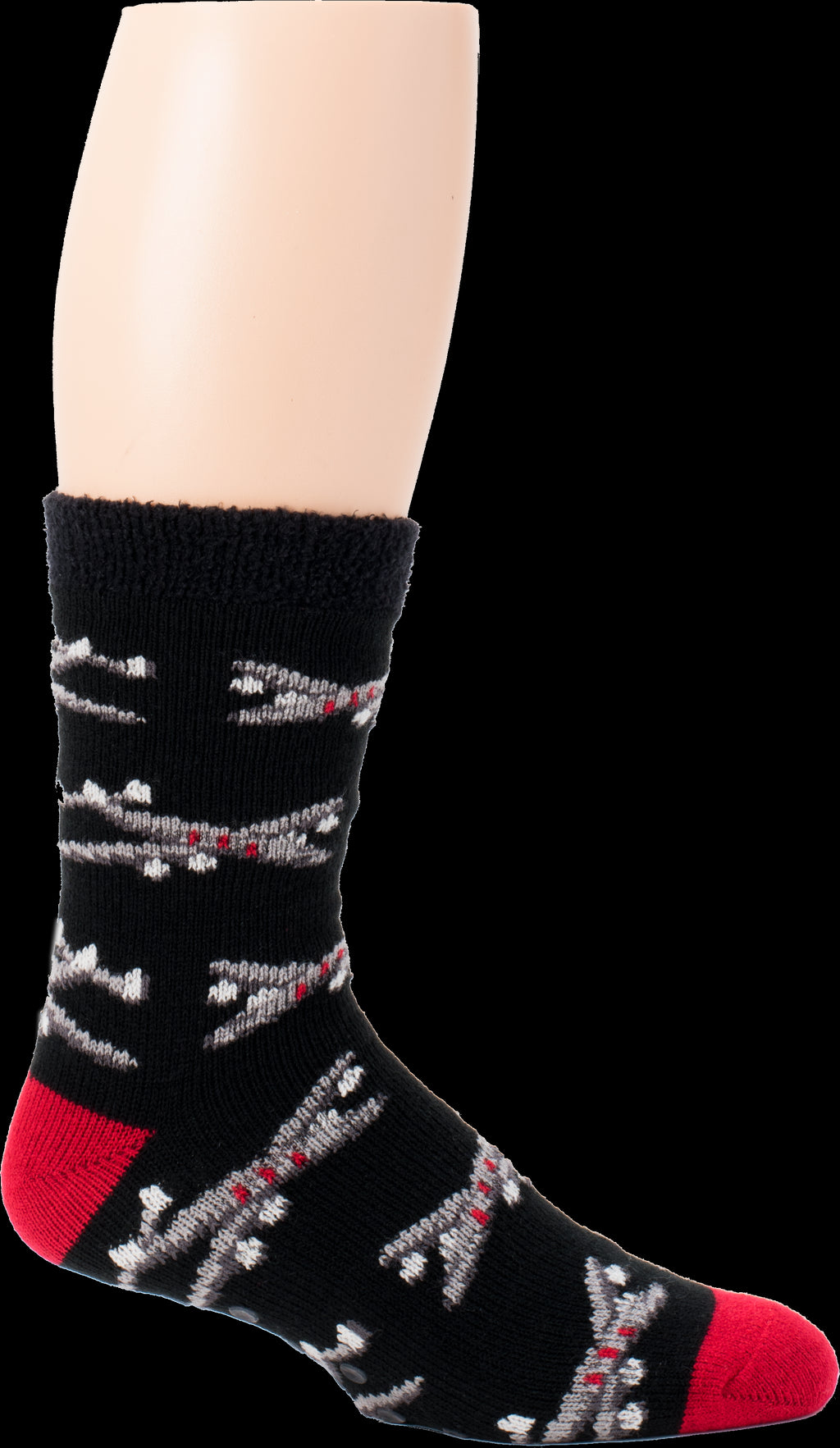 This sock is so cozy and warm with double thickness of fuzzy polyester on the inside. The outside is Black with Grey, White, Black and Red Airplanes all around the sock. The Heels and Toes are Red.