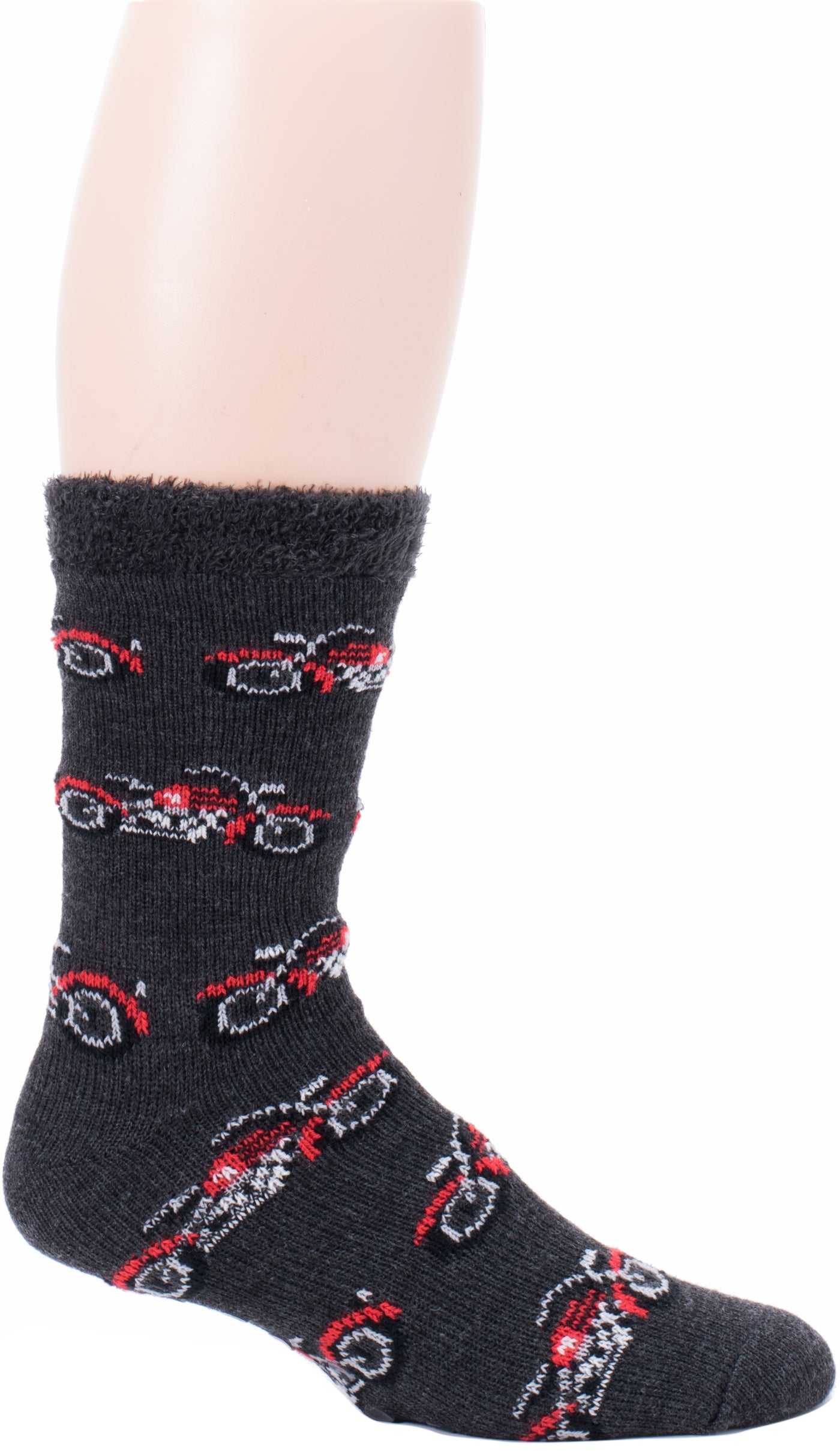 df0f73bdb680 Davco Mens Motorcycle Slipper Socks start with a Black background. The  Motorcycle is Red