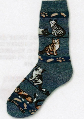 For Bare Feet Denim Cats Sock is a Thick style with Silver and Orange Tabby Cats and Calico Cats along with Fish and Paws for fun graphics