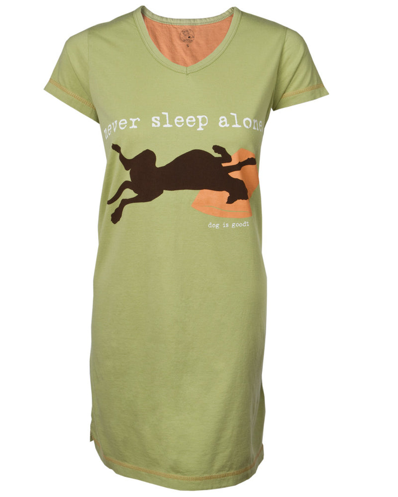 Front Side only of Never Sleep Alone in Sage Green with Big Brown Silhouette Dog and Orange Pillow.