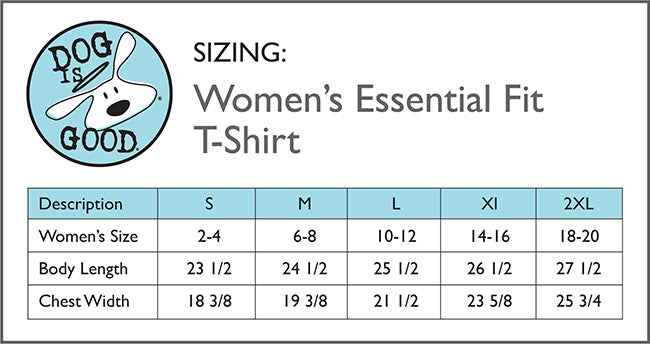 Dog Is Good Women's T-Shirt Size Chart