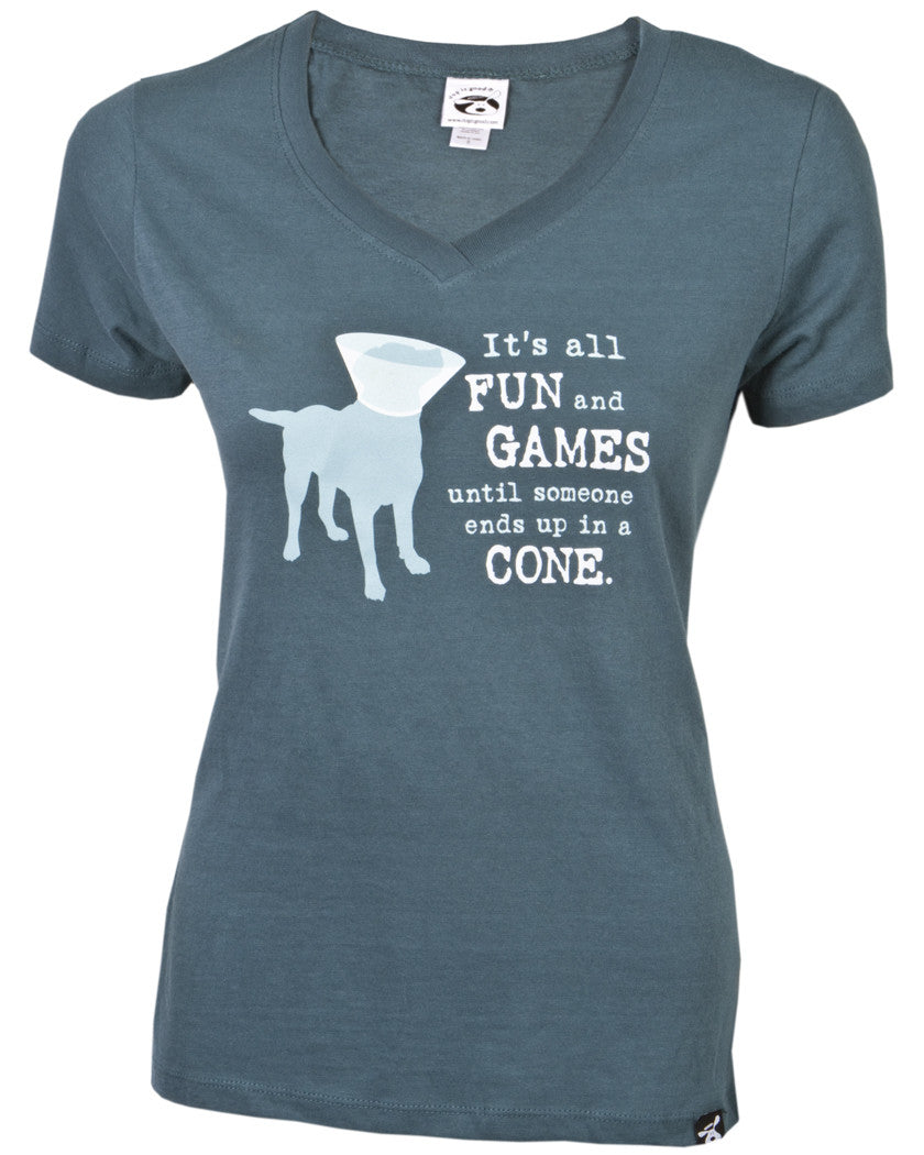0962eace Dog Is Good Womens V Neck T-Shirt It's All Fun and Games until someone ...