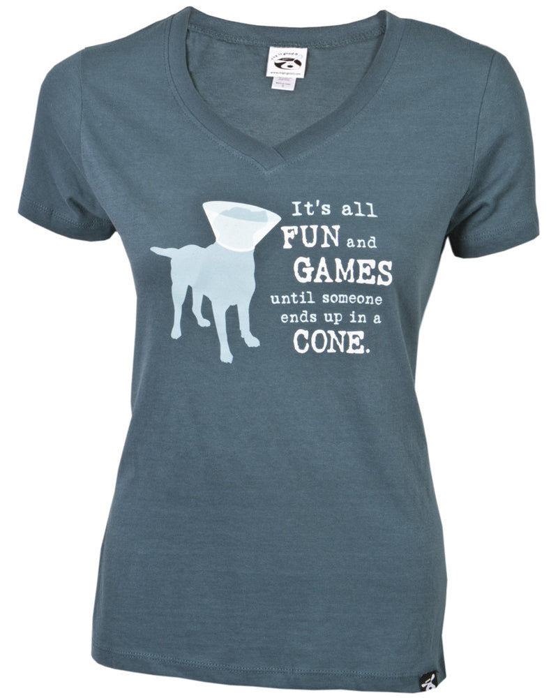 Dog Is Good Womens V Neck T-Shirt It's All Fun and Games until someone ends up in a Cone. Along with that saying is a Large Light Blue Silhouette of a Dog wearing a White Cone of Shame. Also known as a Dog Victorian Collar.