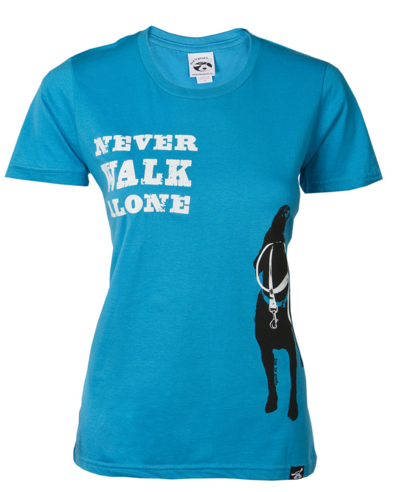 Never Walk Alone T-Shirt by Dog is Good comes in Turquoise Blue. Black Silhouette Dog with White leash on front.