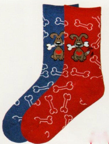 In Denim Blue and Red these Dogs with Bone Socks from K Bell have a Cute Brown Dog with a White Bone in its mouth and Red head Tag from the collar. All over the Socks from Cuff to Toes are White Outlines of Bones.