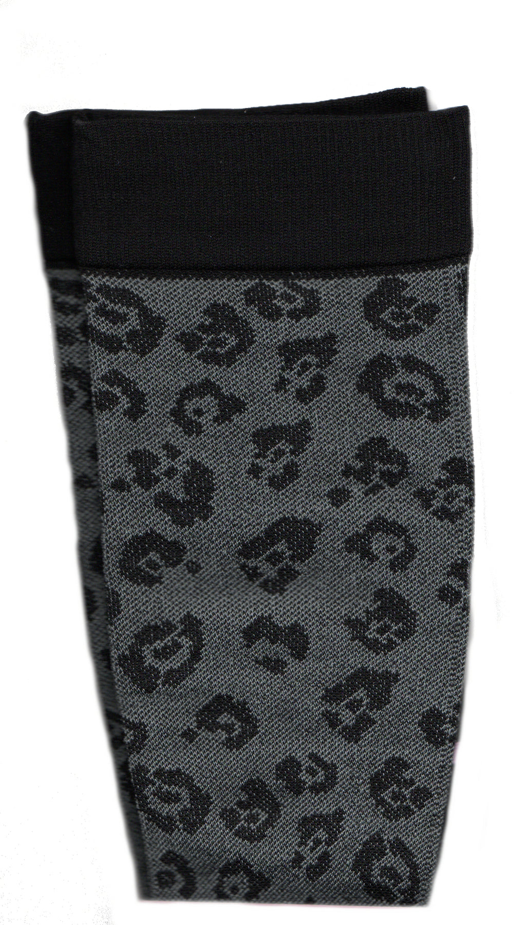 Dr Motion Everyday Womens Compression Leopard Sock starts with a Grey background and has a Black Leopard Print over it. The Cuffs, Heels and Toes are Black.