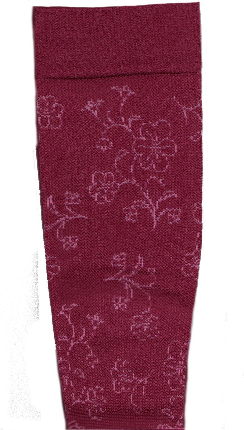 Dr Motion Everyday Womens Compression 2 Tone Floral Sock starts with a Merlot background with Blush colored Flower patterns from the Cuff to the Toe.