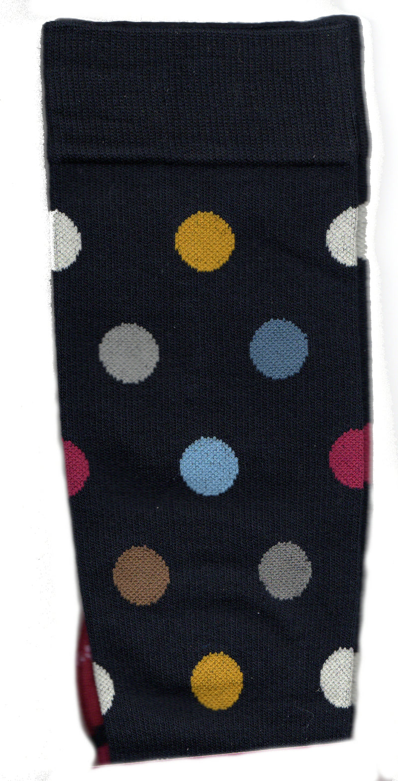 Dr Motion Womens Everyday Compression Dots Socks start on a background of Navy with Merlot Heels and Toes and a 3/4 inch Merlot Dot to start with. Other colored Dots are Light, Medium and Dark Grey, Light and Steel Blue, Brown and Goldenrod.