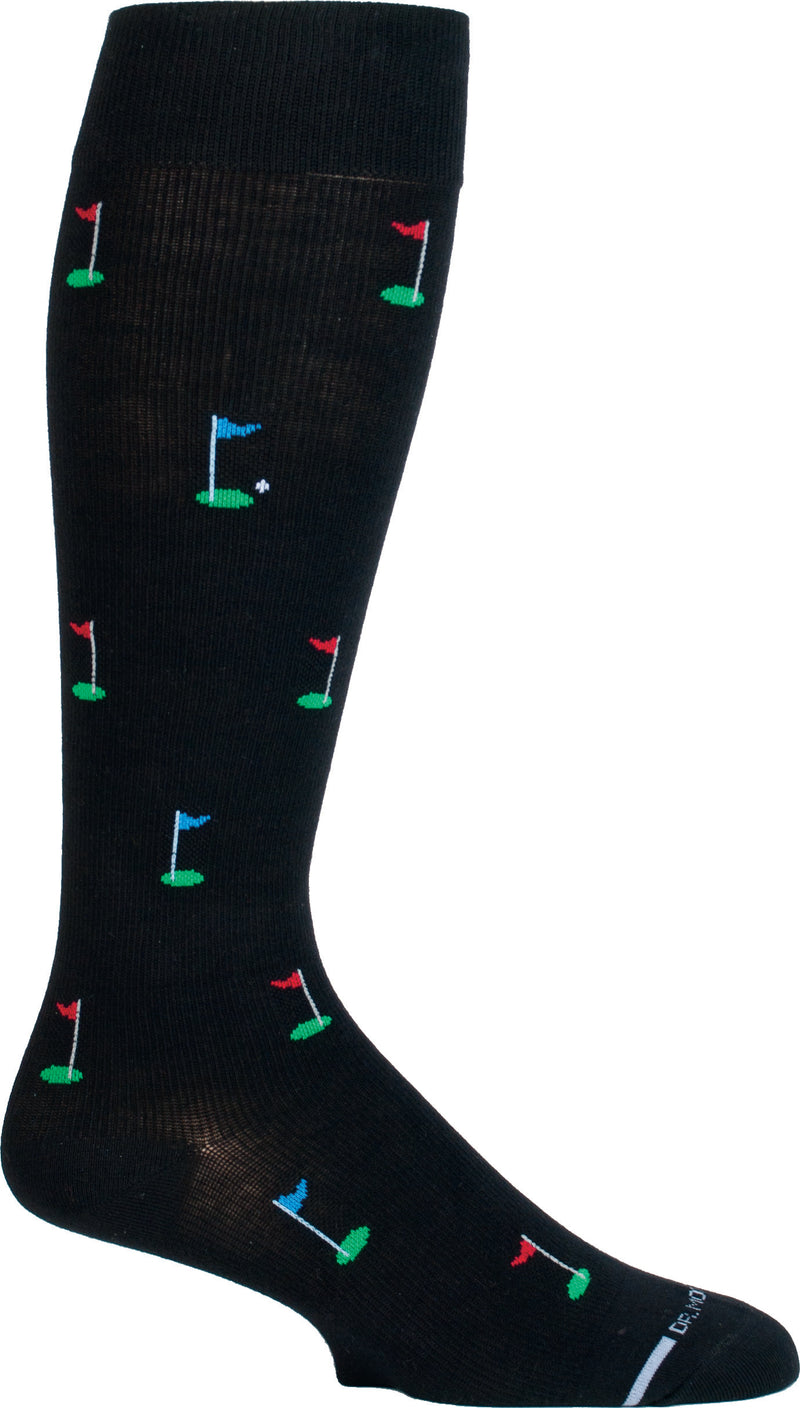 Dr Motion Everyday Mens Compression Golf Sock starts on a Black background. The Center Flag is Blue with a Green Cup and White Ball. All the others are Red Flags or Blue Flags with Green Cups. This is a Mens Knee Hi.