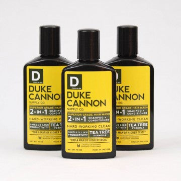 Duke Cannon Superior Grade Hair Wash 2 in 1 Shampoo and Conditioner Smells Like Productivity and made with Tea Tree Oil.  A great Hard Working Clean for a Man on Higher Taste.