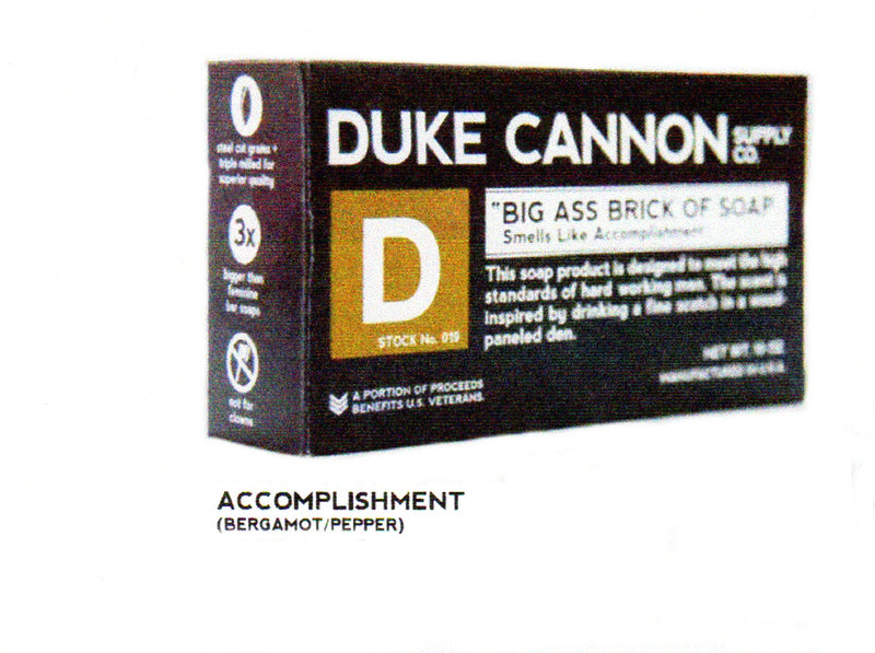 Duke Cannon Big Ass Bar of Soap Smells Like Accomplishment comes in a Unique Package of 3X the size of a regular bar of soap. It is scented with Bergamot and Pepper. A Great Gift for Men.