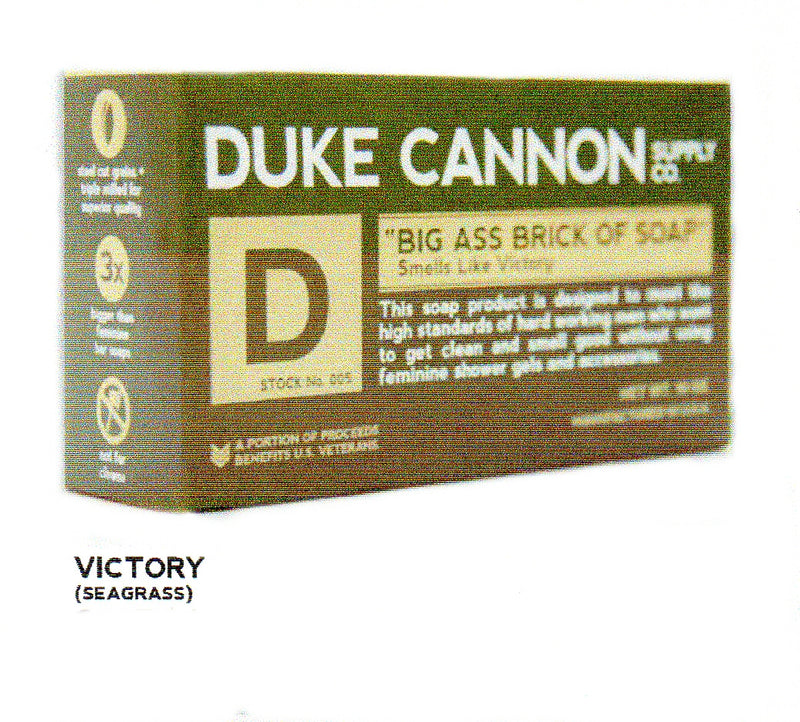 Duke Cannon Big Ass Brick of Soap Smells Like Victory comes in an Army Green Box. The Soap is made to fit a Mans Hand. 3X the size of a regular beauty bar. Victory Bar smells Like Seagrass.