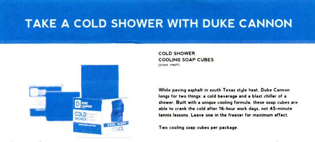 Duke Cannon Cold Shower Cooling Soap Cubes come two in a box with a Cool Mint Scent.