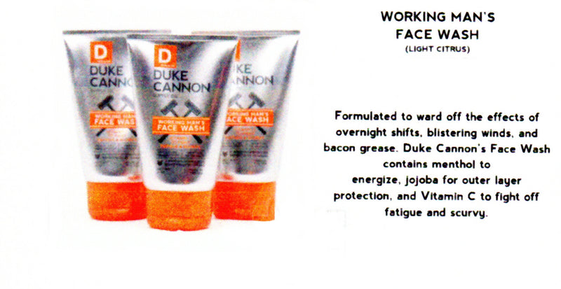 Duke Cannon Working Mans Face Wash has a light sent of Citrus and also Smells Like Productivity.