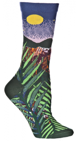 Ozone Endangered Cats Tiger Socks shows the Tiger in the Jungle during a Full Moon.