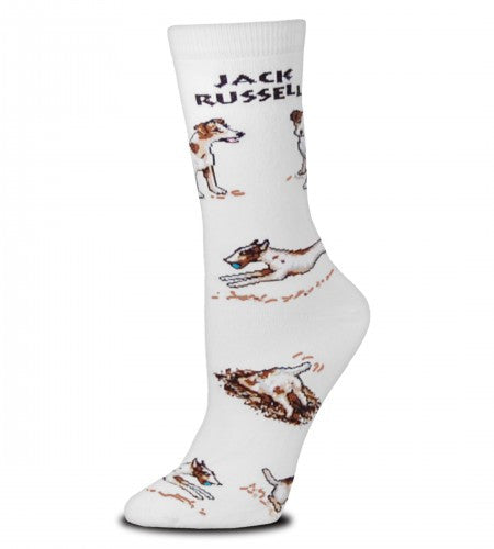 On a Bright White background FBF shows off the Jack Russell Dog Poses 2 Sock. At the top it says in Bold Black print, Jack Russell.  Then it has him running and digging, sitting and standing. He is White and Dark Brown with Black.
